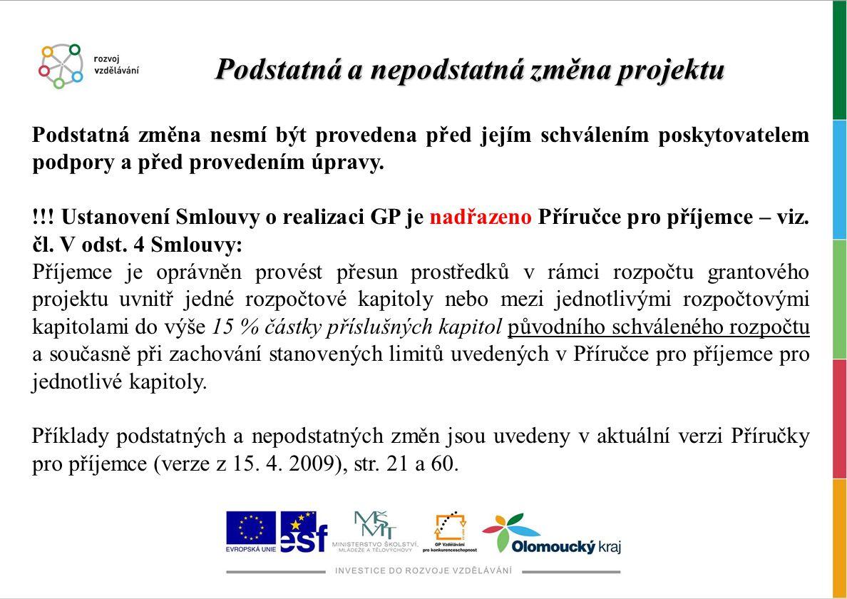 Podstatná změna nesmí být provedena před jejím schválením poskytovatelem podpory a před provedením úpravy. !!! Ustanovení Smlouvy o realizaci GP je na