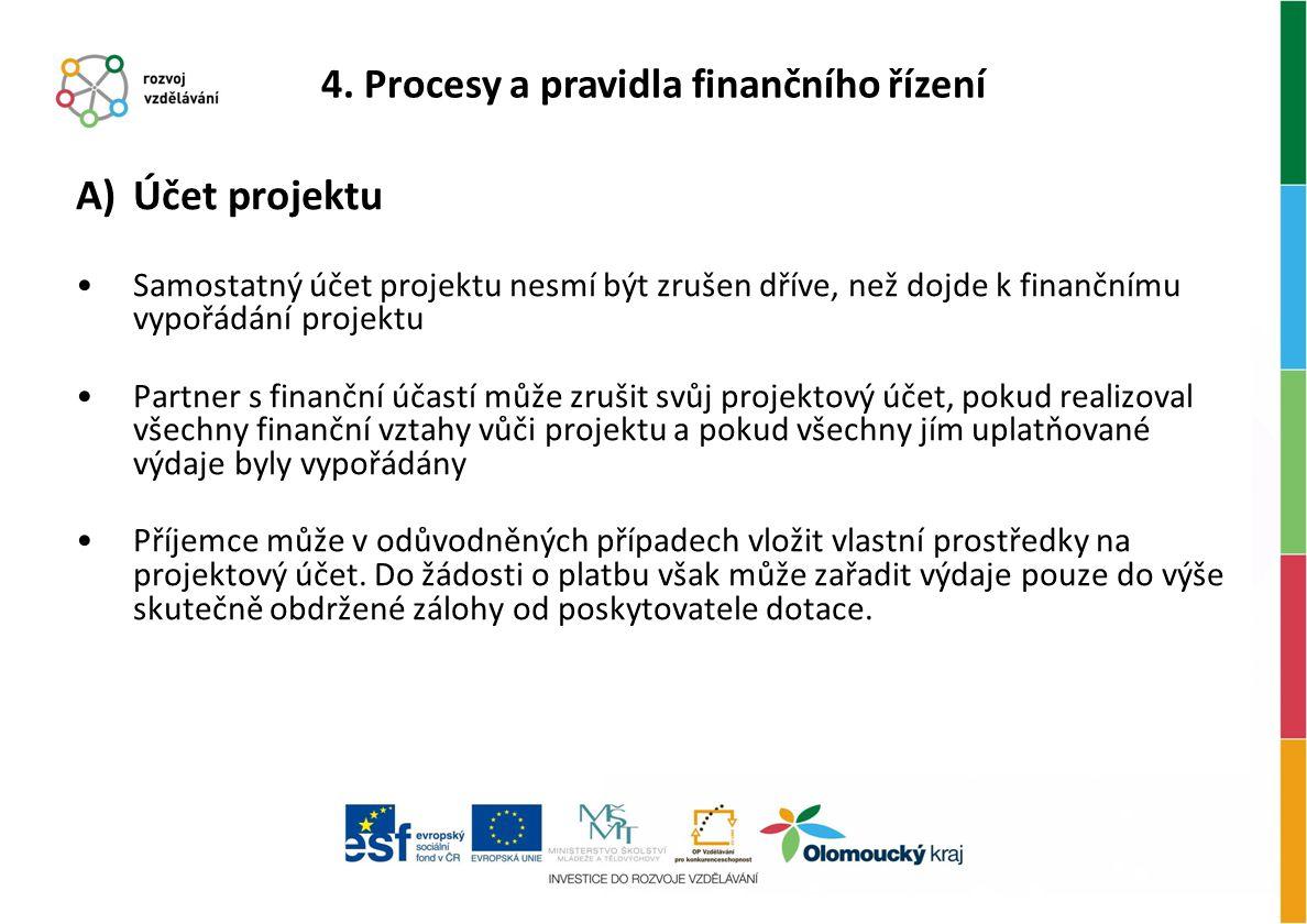 A)Účet projektu Samostatný účet projektu nesmí být zrušen dříve, než dojde k finančnímu vypořádání projektu Partner s finanční účastí může zrušit svůj