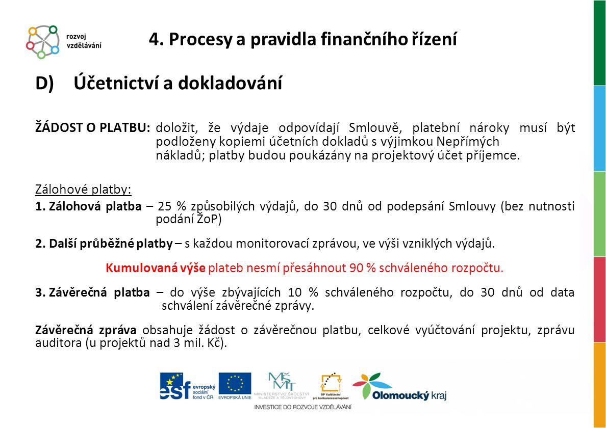 D) Účetnictví a dokladování ŽÁDOST O PLATBU: doložit, že výdaje odpovídají Smlouvě, platební nároky musí být podloženy kopiemi účetních dokladů s výji