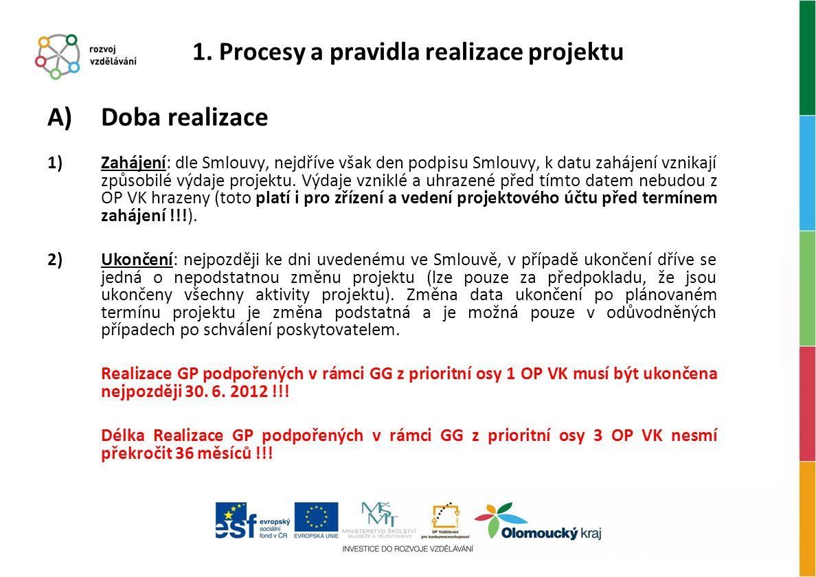 A)Doba realizace 1)Zahájení: dle Smlouvy, nejdříve však den podpisu Smlouvy, k datu zahájení vznikají způsobilé výdaje projektu. Výdaje vzniklé a uhra