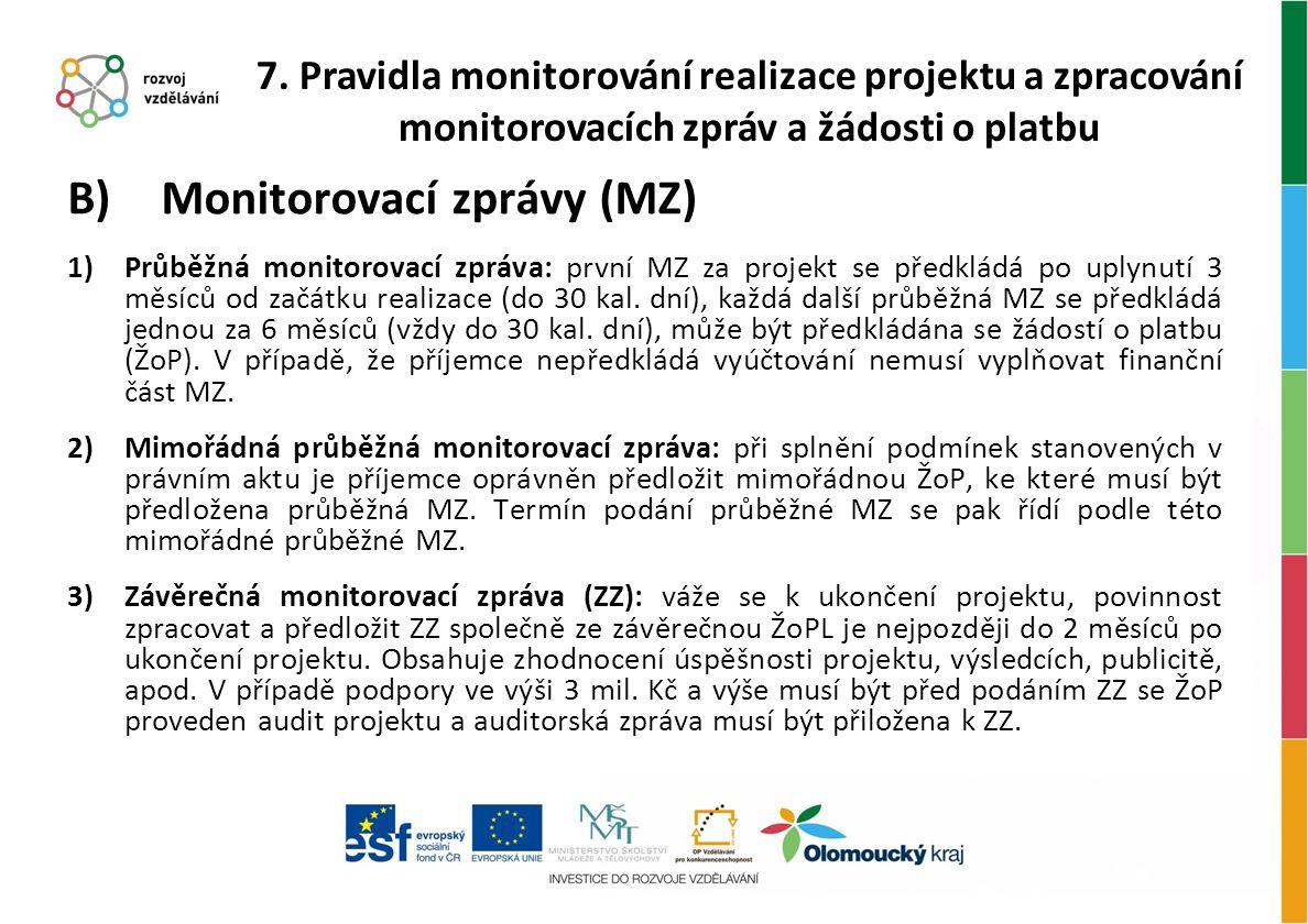 B) Monitorovací zprávy (MZ) 1)Průběžná monitorovací zpráva: první MZ za projekt se předkládá po uplynutí 3 měsíců od začátku realizace (do 30 kal. dní