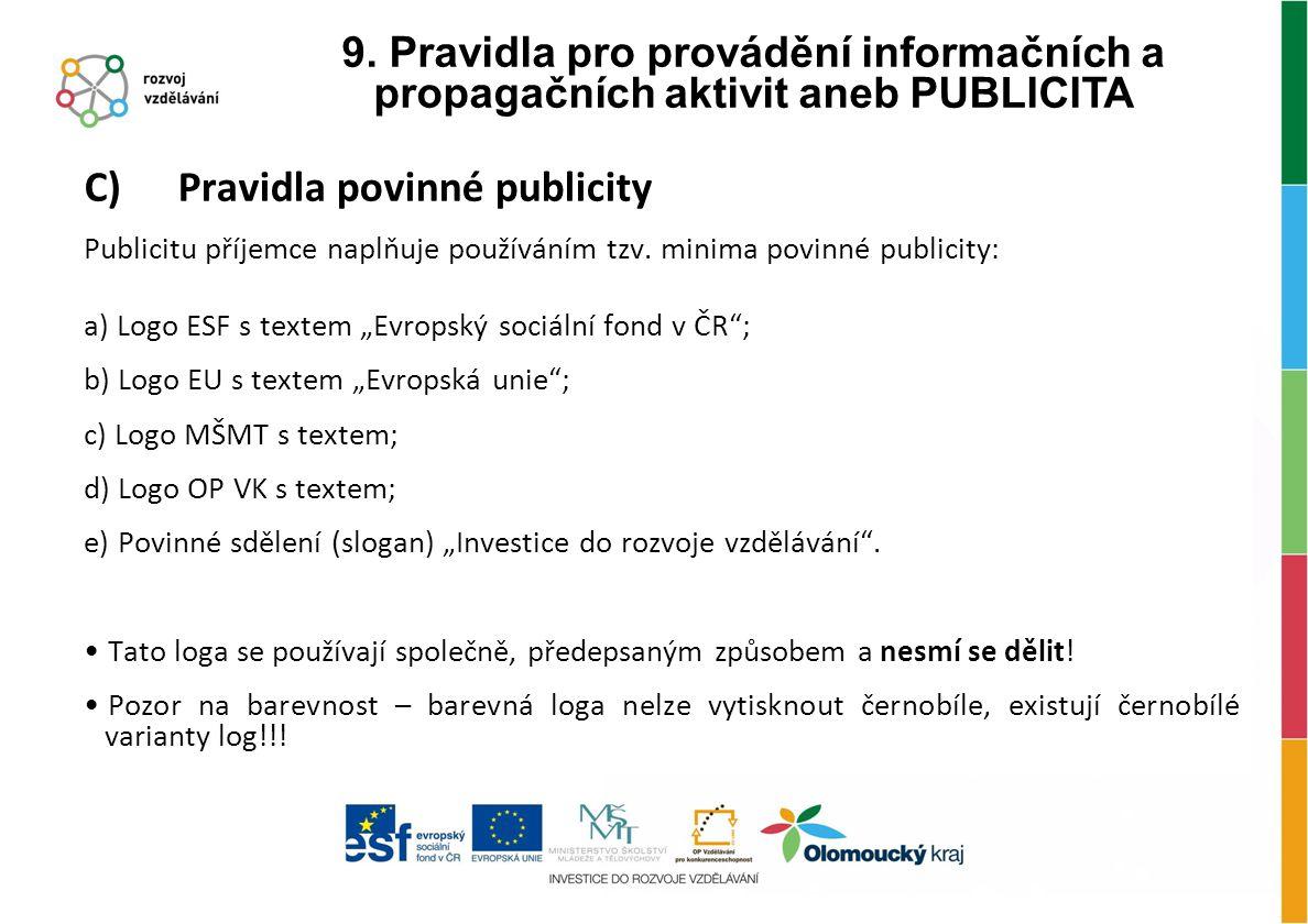 """C) Pravidla povinné publicity Publicitu příjemce naplňuje používáním tzv. minima povinné publicity: a) Logo ESF s textem """"Evropský sociální fond v ČR"""""""