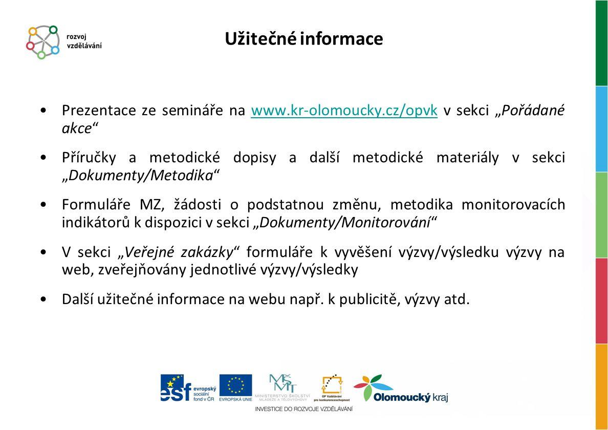 """Prezentace ze semináře na www.kr-olomoucky.cz/opvk v sekci """"Pořádané akce""""www.kr-olomoucky.cz/opvk Příručky a metodické dopisy a další metodické mater"""