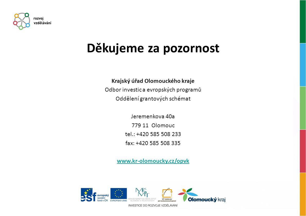 Děkujeme za pozornost Krajský úřad Olomouckého kraje Odbor investic a evropských programů Oddělení grantových schémat Jeremenkova 40a 779 11 Olomouc t