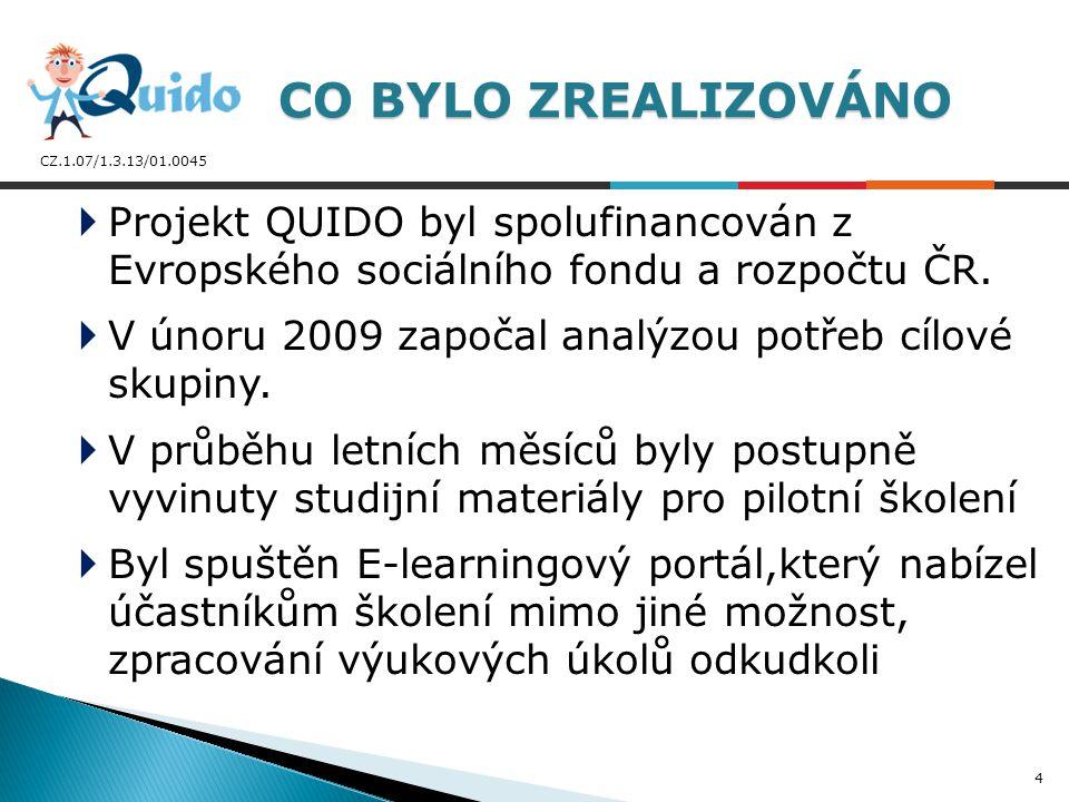 CZ.1.07/1.3.13/01.0045  Projekt QUIDO byl spolufinancován z Evropského sociálního fondu a rozpočtu ČR.  V únoru 2009 započal analýzou potřeb cílové