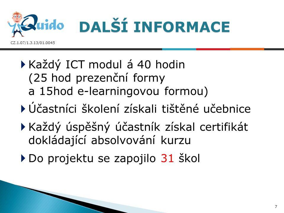 CZ.1.07/1.3.13/01.0045  Každý ICT modul á 40 hodin (25 hod prezenční formy a 15hod e-learningovou formou)  Účastníci školení získali tištěné učebnic