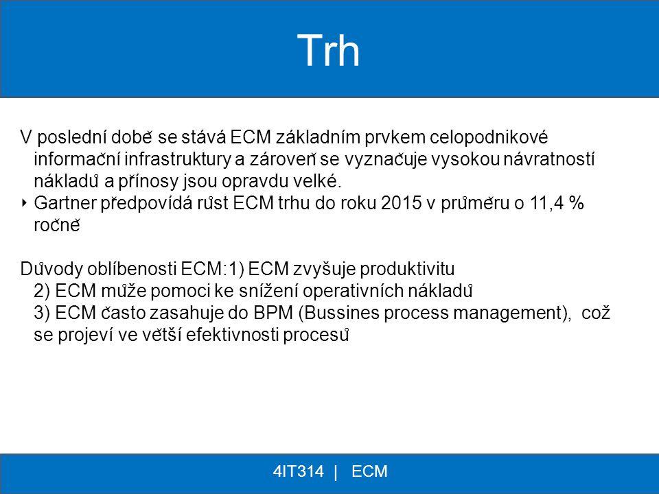** 4IT314 | ECM V poslední dobe ̌ se stává ECM základním prvkem celopodnikové informac ̌ ní infrastruktury a zároven ̌ se vyznac ̌ uje vysokou návratn