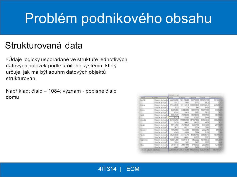 ** 4IT314 | ECM Problém podnikového obsahu Strukturovaná data Nestrukturovaná data 80% ‣ Údaje logicky uspořádané ve struktuře jednotlivých datových p