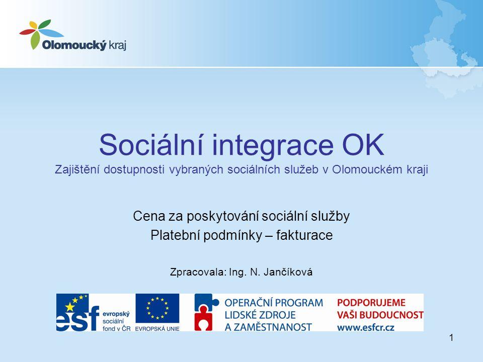 1 Sociální integrace OK Zajištění dostupnosti vybraných sociálních služeb v Olomouckém kraji Cena za poskytování sociální služby Platební podmínky – fakturace Zpracovala: Ing.