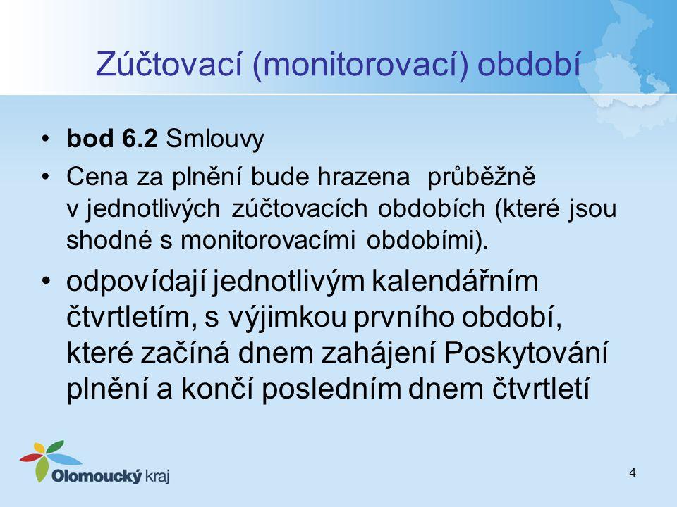4 Zúčtovací (monitorovací) období bod 6.2 Smlouvy Cena za plnění bude hrazena průběžně v jednotlivých zúčtovacích obdobích (které jsou shodné s monitorovacími obdobími).