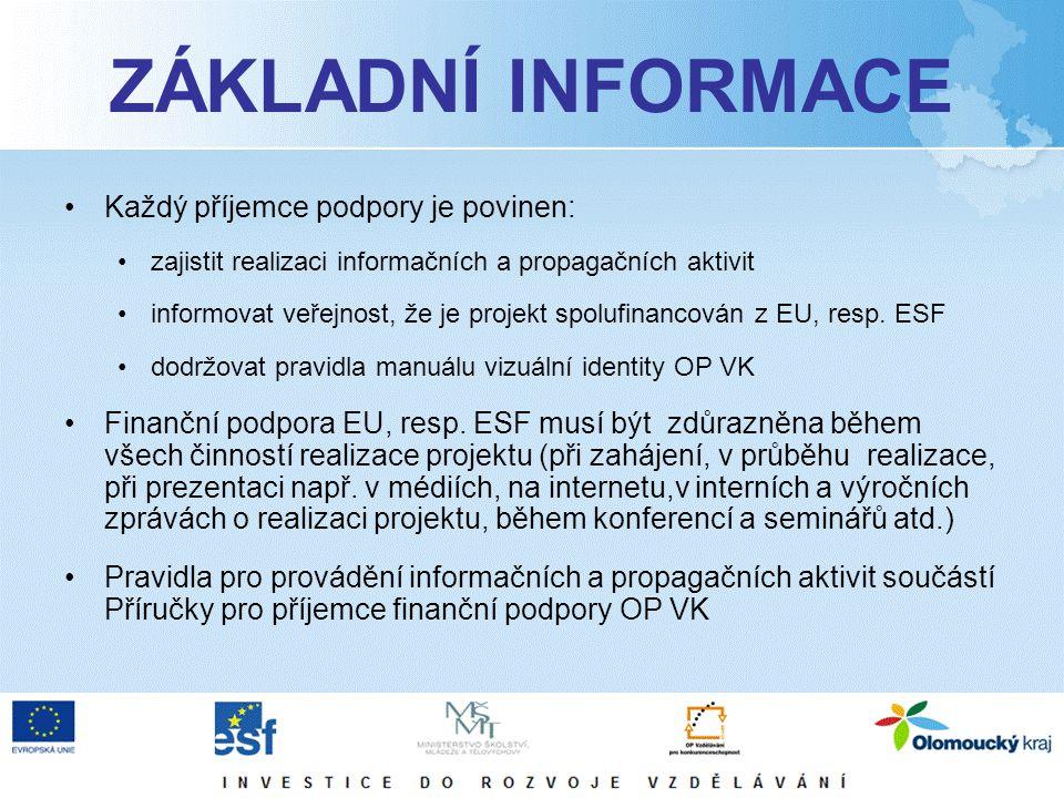 ZÁKLADNÍ INFORMACE Každý příjemce podpory je povinen: zajistit realizaci informačních a propagačních aktivit informovat veřejnost, že je projekt spolufinancován z EU, resp.