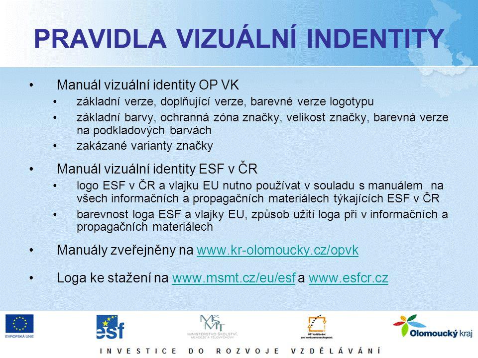 PRAVIDLA VIZUÁLNÍ INDENTITY Manuál vizuální identity OP VK základní verze, doplňující verze, barevné verze logotypu základní barvy, ochranná zóna značky, velikost značky, barevná verze na podkladových barvách zakázané varianty značky Manuál vizuální identity ESF v ČR logo ESF v ČR a vlajku EU nutno používat v souladu s manuálem na všech informačních a propagačních materiálech týkajících ESF v ČR barevnost loga ESF a vlajky EU, způsob užití loga při v informačních a propagačních materiálech Manuály zveřejněny na www.kr-olomoucky.cz/opvkwww.kr-olomoucky.cz/opvk Loga ke stažení na www.msmt.cz/eu/esf a www.esfcr.czwww.msmt.cz/eu/esfwww.esfcr.cz