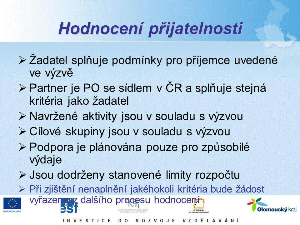 Hodnocení přijatelnosti  Žadatel splňuje podmínky pro příjemce uvedené ve výzvě  Partner je PO se sídlem v ČR a splňuje stejná kritéria jako žadatel  Navržené aktivity jsou v souladu s výzvou  Cílové skupiny jsou v souladu s výzvou  Podpora je plánována pouze pro způsobilé výdaje  Jsou dodrženy stanovené limity rozpočtu  Při zjištění nenaplnění jakéhokoli kritéria bude žádost vyřazena z dalšího procesu hodnocení
