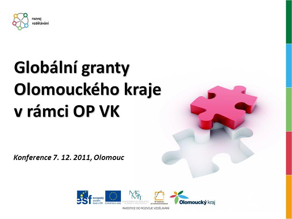Konference 7. 12. 2011, Olomouc Globální granty Olomouckého kraje v rámci OP VK