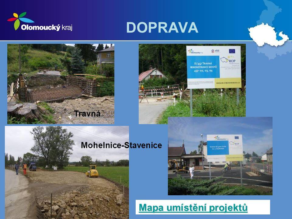 DOPRAVA Mohelnice-Stavenice Travná Mapa umístění projektů Mapa umístění projektů