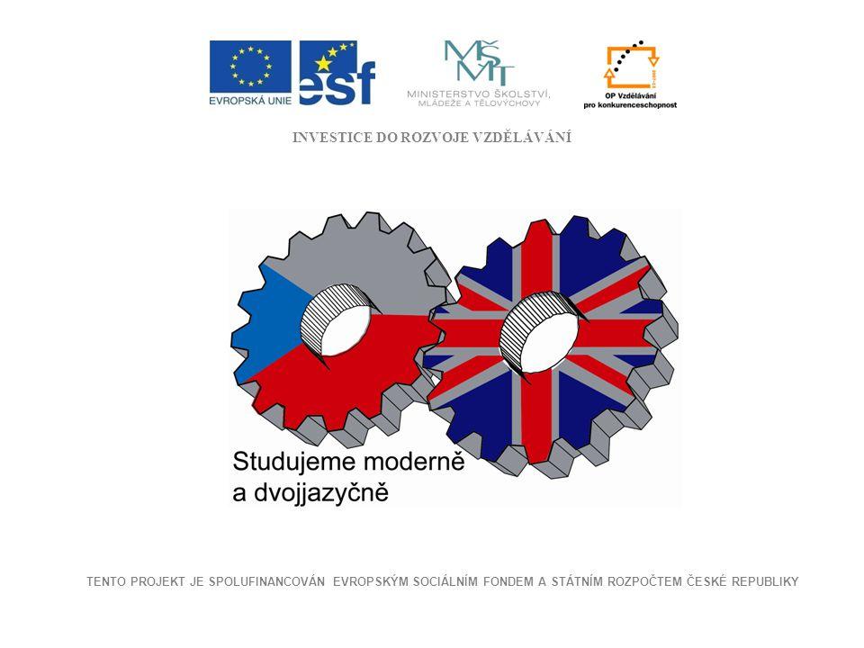 INVESTICE DO ROZVOJE VZDĚLÁVÁNÍ TENTO PROJEKT JE SPOLUFINANCOVÁN EVROPSKÝM SOCIÁLNÍM FONDEM A STÁTNÍM ROZPOČTEM ČESKÉ REPUBLIKY