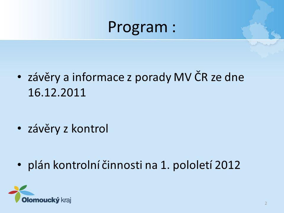 Program : závěry a informace z porady MV ČR ze dne 16.12.2011 závěry z kontrol plán kontrolní činnosti na 1. pololetí 2012 2