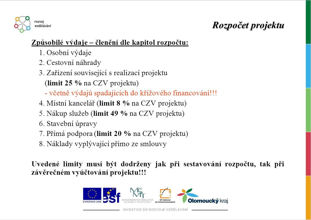 Rozpočet projektu Způsobilé výdaje – členění dle kapitol rozpočtu: 1. Osobní výdaje 2. Cestovní náhrady 3. Zařízení související s realizací projektu (