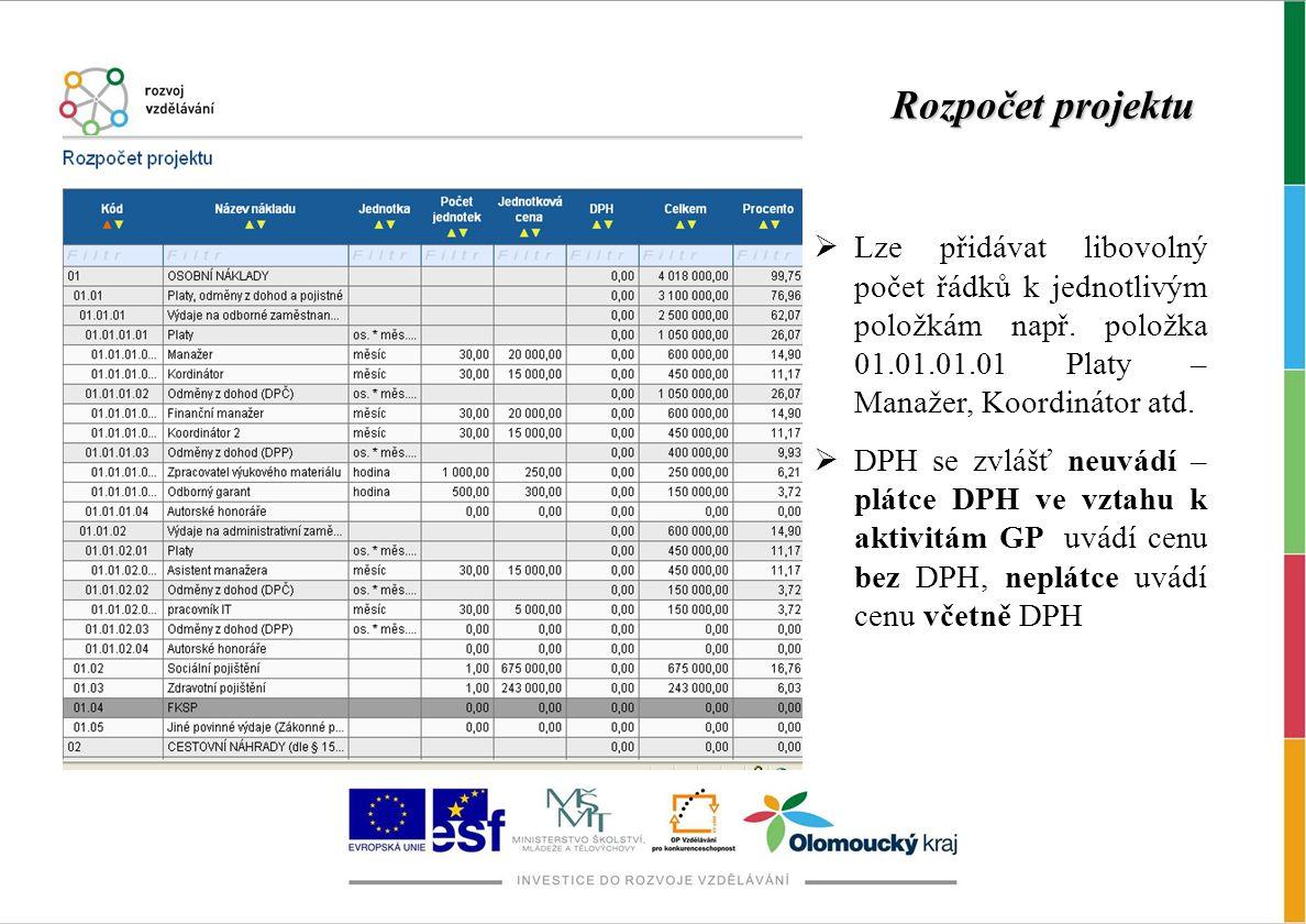 Rozpočet projektu  Lze přidávat libovolný počet řádků k jednotlivým položkám např. položka 01.01.01.01 Platy – Manažer, Koordinátor atd.  DPH se zvl