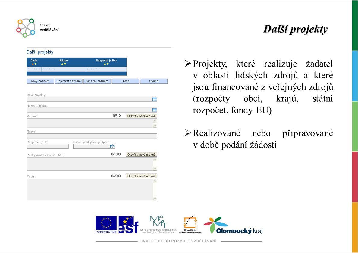 Další projekty  Projekty, které realizuje žadatel v oblasti lidských zdrojů a které jsou financované z veřejných zdrojů (rozpočty obcí, krajů, státní