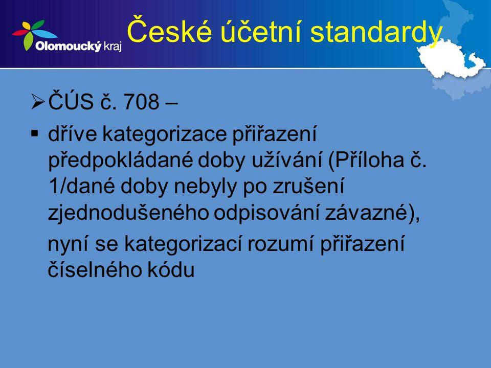 České účetní standardy  ČÚS č. 708 –  dříve kategorizace přiřazení předpokládané doby užívání (Příloha č. 1/dané doby nebyly po zrušení zjednodušené