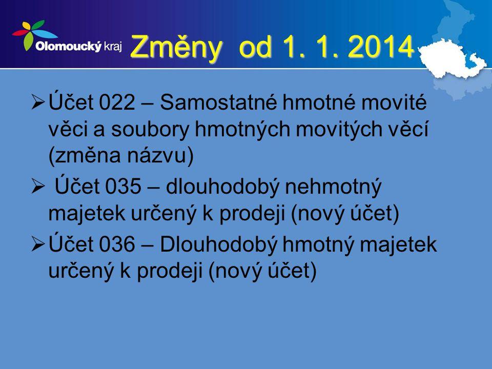 Změny od 1. 1. 2014  Účet 022 – Samostatné hmotné movité věci a soubory hmotných movitých věcí (změna názvu)  Účet 035 – dlouhodobý nehmotný majetek