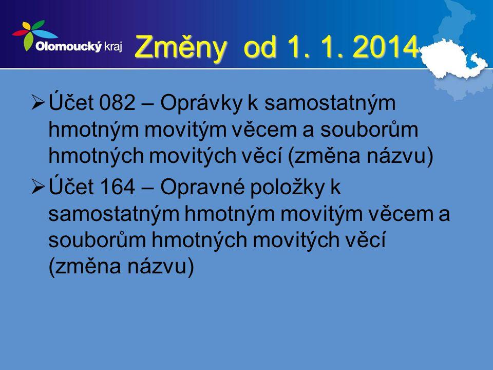 Změny od 1. 1. 2014  Účet 082 – Oprávky k samostatným hmotným movitým věcem a souborům hmotných movitých věcí (změna názvu)  Účet 164 – Opravné polo