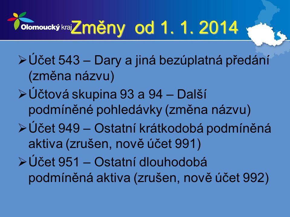 Změny od 1. 1. 2014  Účet 543 – Dary a jiná bezúplatná předání (změna názvu)  Účtová skupina 93 a 94 – Další podmíněné pohledávky (změna názvu)  Úč