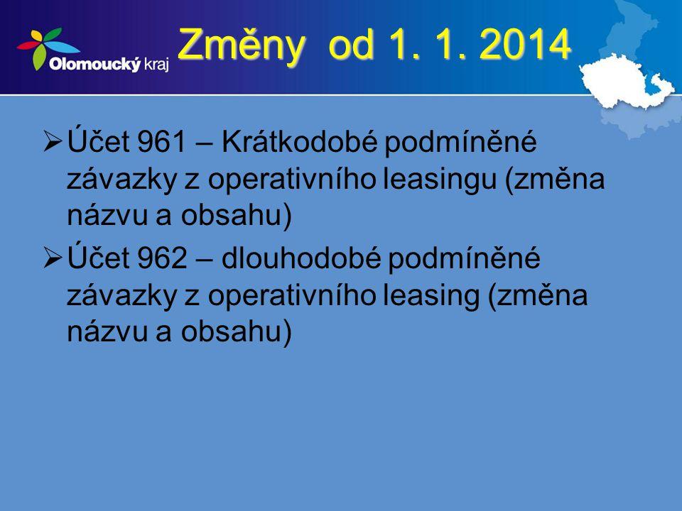 Změny od 1. 1. 2014  Účet 961 – Krátkodobé podmíněné závazky z operativního leasingu (změna názvu a obsahu)  Účet 962 – dlouhodobé podmíněné závazky