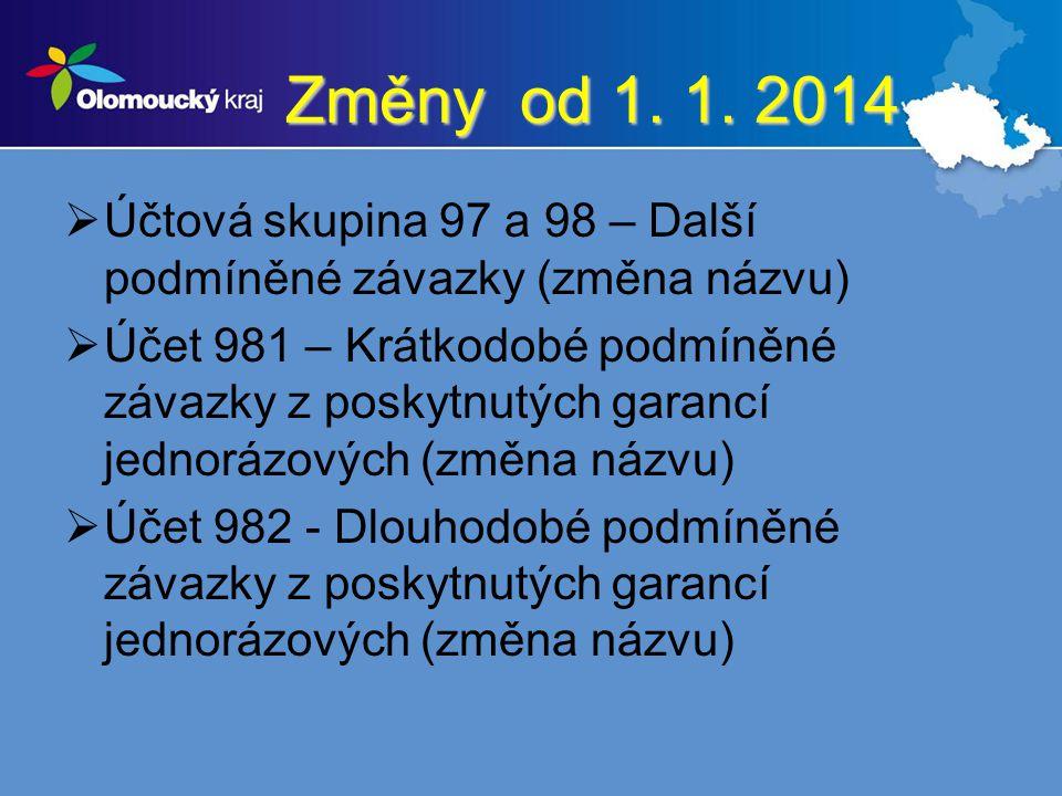 Změny od 1. 1. 2014  Účtová skupina 97 a 98 – Další podmíněné závazky (změna názvu)  Účet 981 – Krátkodobé podmíněné závazky z poskytnutých garancí