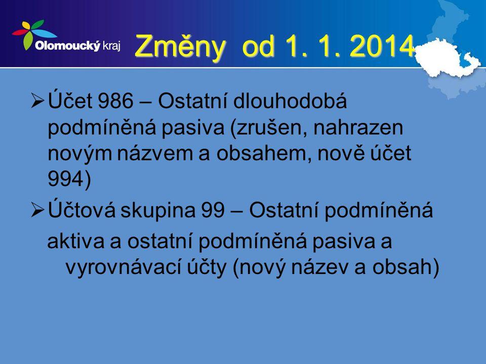 Změny od 1. 1. 2014  Účet 986 – Ostatní dlouhodobá podmíněná pasiva (zrušen, nahrazen novým názvem a obsahem, nově účet 994)  Účtová skupina 99 – Os