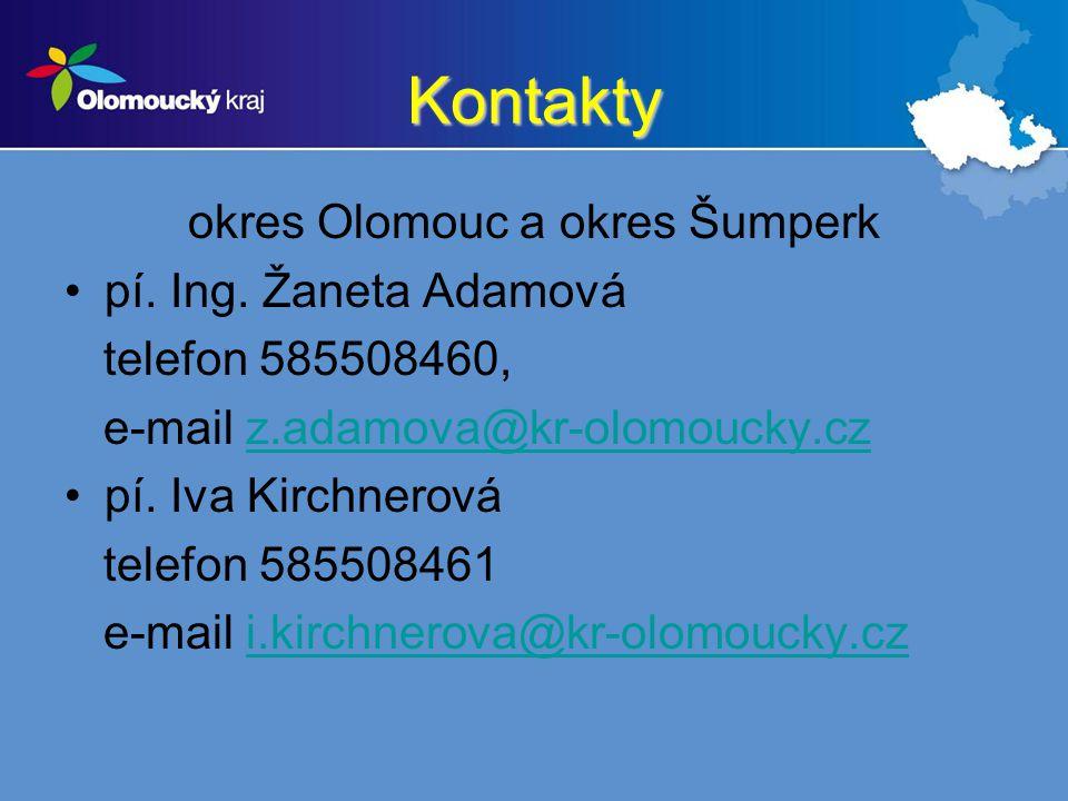 Kontakty okres Olomouc a okres Šumperk pí. Ing. Žaneta Adamová telefon 585508460, e-mail z.adamova@kr-olomoucky.czz.adamova@kr-olomoucky.cz pí. Iva Ki