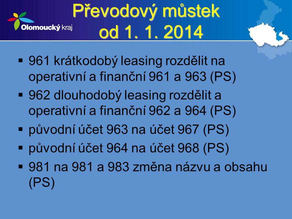 Převodový můstek od 1. 1. 2014  961 krátkodobý leasing rozdělit na operativní a finanční 961 a 963 (PS)  962 dlouhodobý leasing rozdělit a operativn