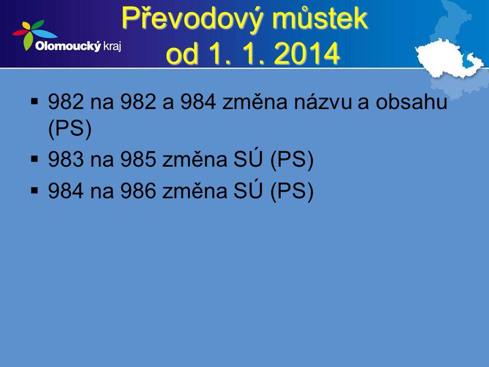 Převodový můstek od 1. 1. 2014  982 na 982 a 984 změna názvu a obsahu (PS)  983 na 985 změna SÚ (PS)  984 na 986 změna SÚ (PS)