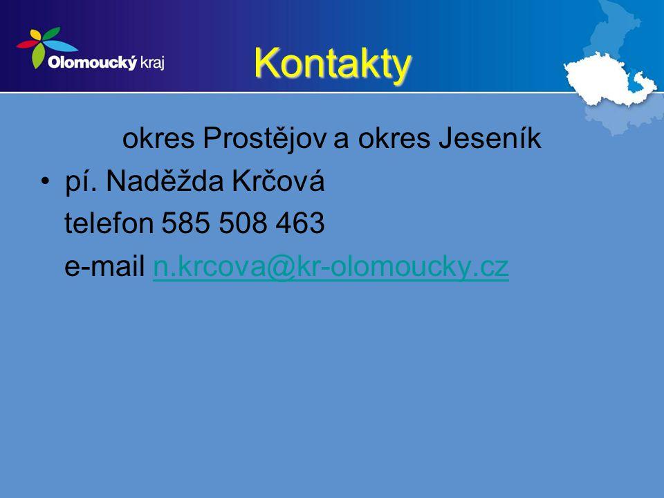 Kontakty okres Prostějov a okres Jeseník pí. Naděžda Krčová telefon 585 508 463 e-mail n.krcova@kr-olomoucky.czn.krcova@kr-olomoucky.cz