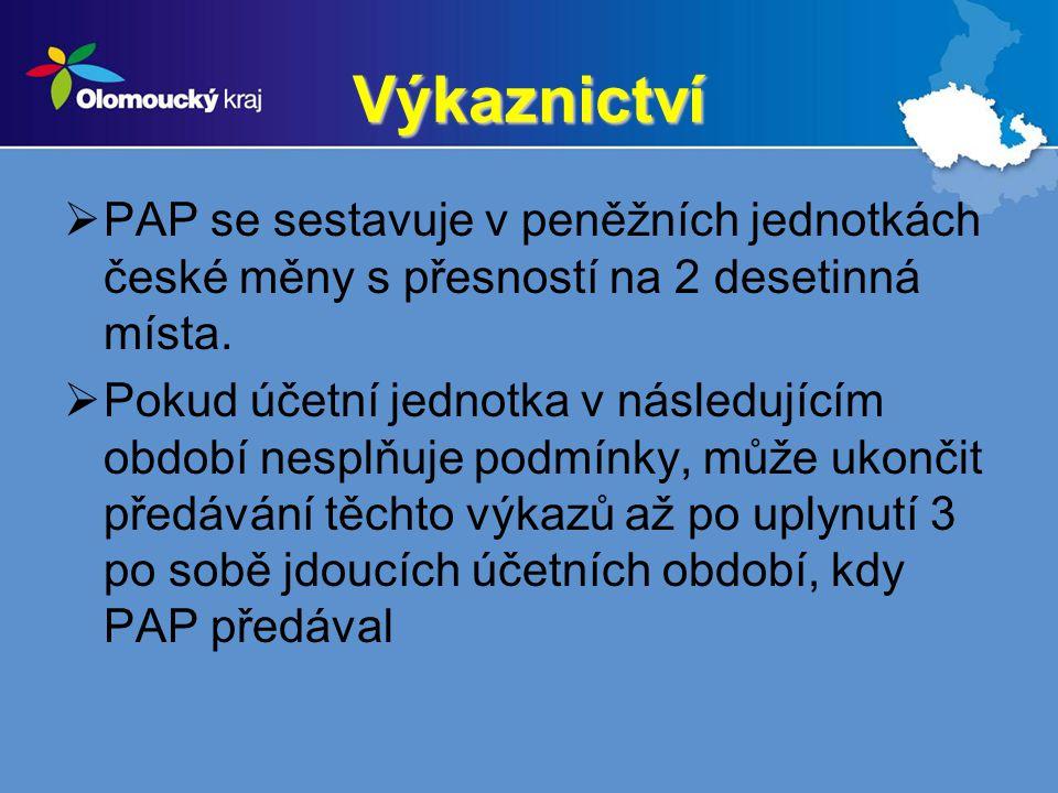 Výkaznictví  PAP se sestavuje v peněžních jednotkách české měny s přesností na 2 desetinná místa.  Pokud účetní jednotka v následujícím období nespl