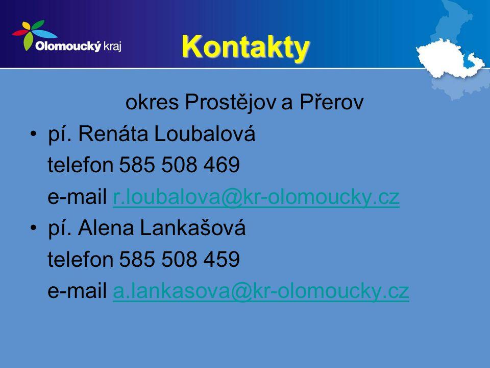 Kontakty okres Prostějov a Přerov pí. Renáta Loubalová telefon 585 508 469 e-mail r.loubalova@kr-olomoucky.czr.loubalova@kr-olomoucky.cz pí. Alena Lan