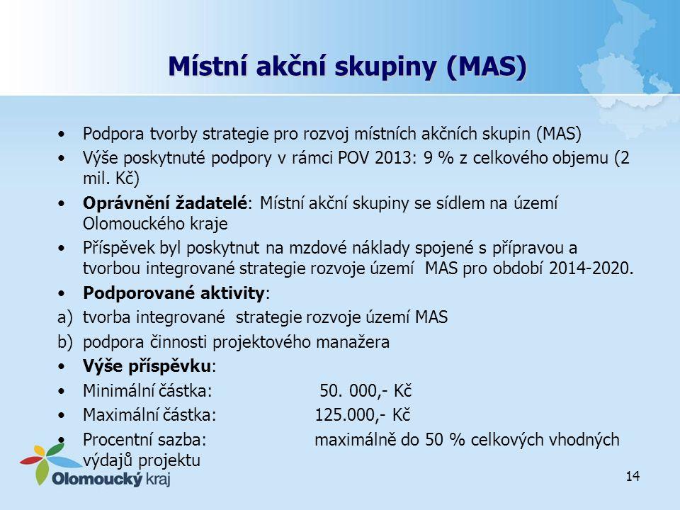 Místní akční skupiny (MAS) Podpora tvorby strategie pro rozvoj místních akčních skupin (MAS) Výše poskytnuté podpory v rámci POV 2013: 9 % z celkového