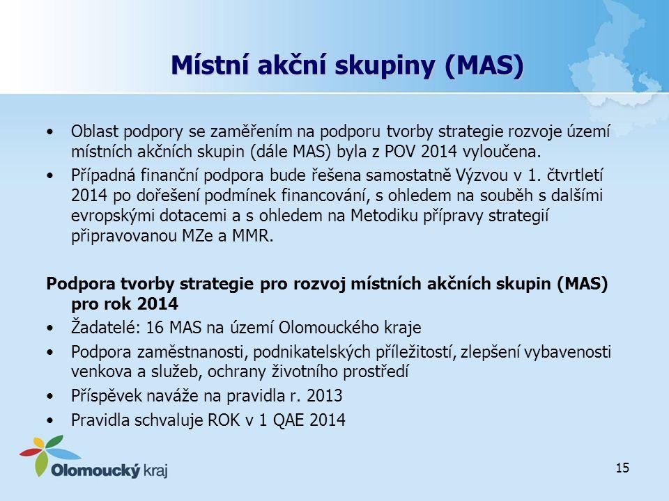 Místní akční skupiny (MAS) Oblast podpory se zaměřením na podporu tvorby strategie rozvoje území místních akčních skupin (dále MAS) byla z POV 2014 vy