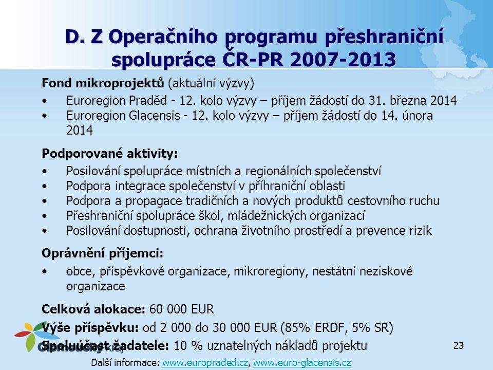 D. Z Operačního programu přeshraniční spolupráce ČR-PR 2007-2013 Fond mikroprojektů (aktuální výzvy) Euroregion Praděd - 12. kolo výzvy – příjem žádos