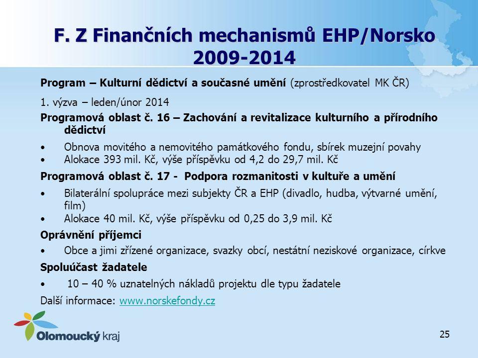 F. Z Finančních mechanismů EHP/Norsko 2009-2014 Program – Kulturní dědictví a současné umění (zprostředkovatel MK ČR) 1. výzva – leden/únor 2014 Progr