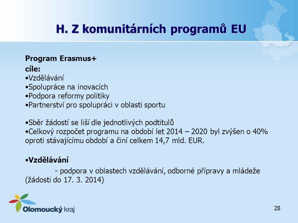H. Z komunitárních programů EU Program Erasmus+ cíle: Vzdělávání Spolupráce na inovacích Podpora reformy politiky Partnerství pro spolupráci v oblasti