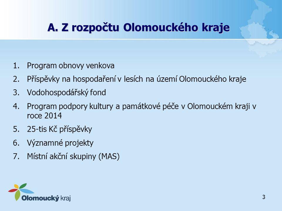 3 A. Z rozpočtu Olomouckého kraje 1.Program obnovy venkova 2.Příspěvky na hospodaření v lesích na území Olomouckého kraje 3.Vodohospodářský fond 4.Pro
