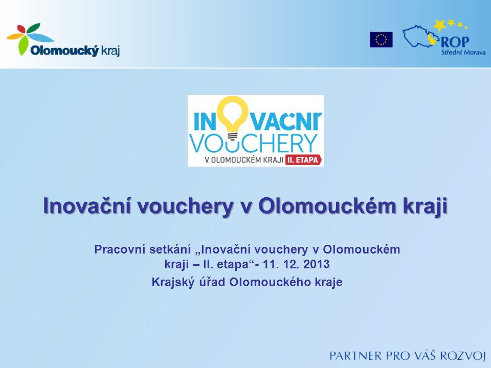 """Inovační vouchery v Olomouckém kraji Pracovní setkání """"Inovační vouchery v Olomouckém kraji – II."""