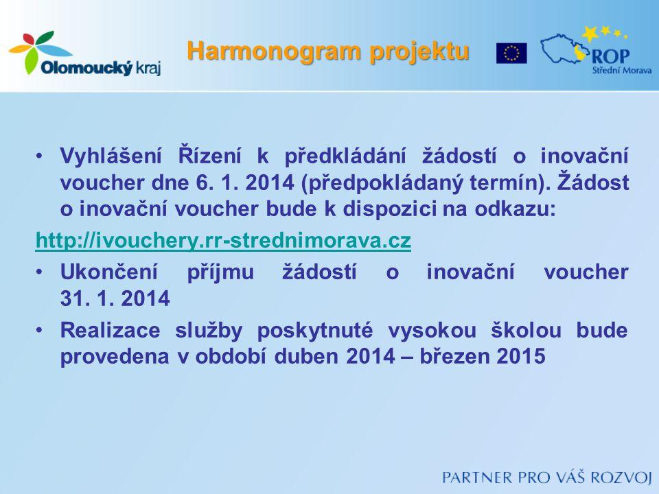 Vyhlášení Řízení k předkládání žádostí o inovační voucher dne 6.