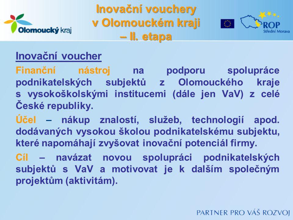 Inovační voucher Finanční nástroj na podporu spolupráce podnikatelských subjektů z Olomouckého kraje s vysokoškolskými institucemi (dále jen VaV) z celé České republiky.