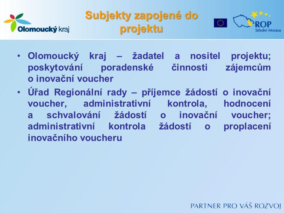 Subjekty zapojené do projektu Olomoucký kraj – žadatel a nositel projektu; poskytování poradenské činnosti zájemcům o inovační voucher Úřad Regionální rady – příjemce žádostí o inovační voucher, administrativní kontrola, hodnocení a schvalování žádostí o inovační voucher; administrativní kontrola žádostí o proplacení inovačního voucheru