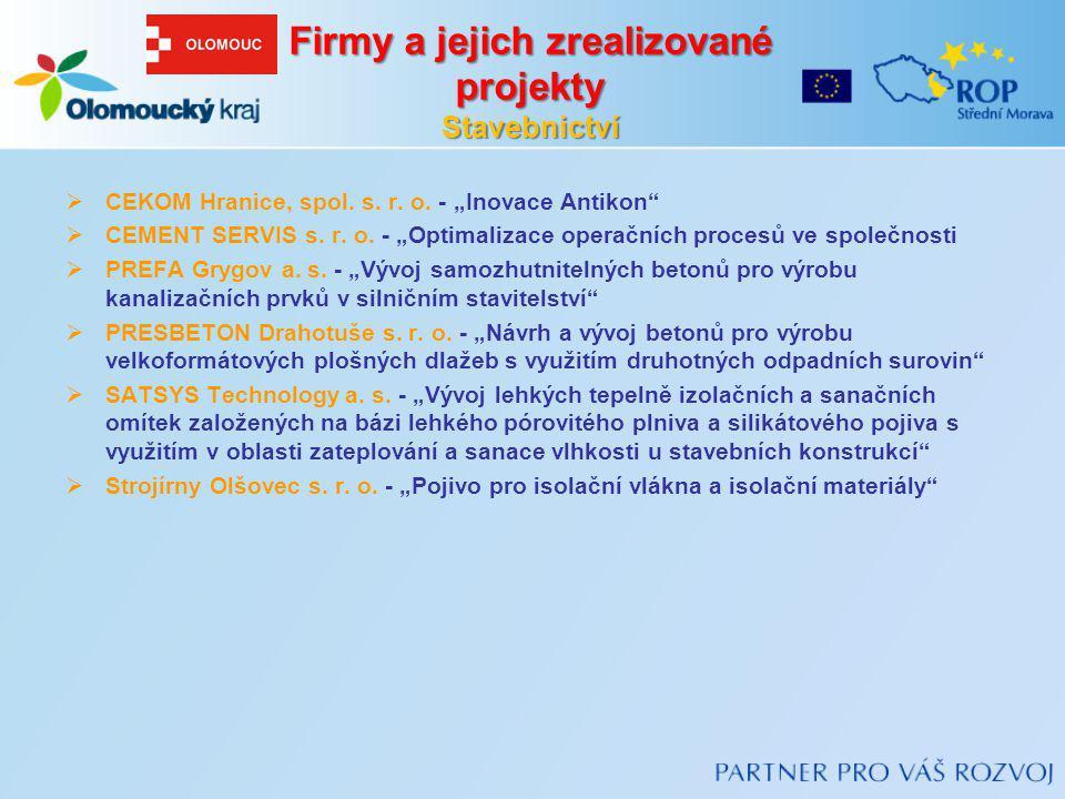"Firmy a jejich zrealizované projekty Stavebnictví  CEKOM Hranice, spol. s. r. o. - ""Inovace Antikon""  CEMENT SERVIS s. r. o. - ""Optimalizace operačn"