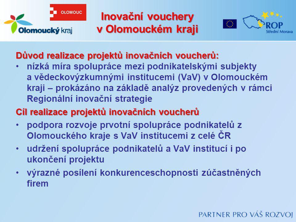 Důvod realizace projektů inovačních voucherů: nízká míra spolupráce mezi podnikatelskými subjekty a vědeckovýzkumnými institucemi (VaV) v Olomouckém k