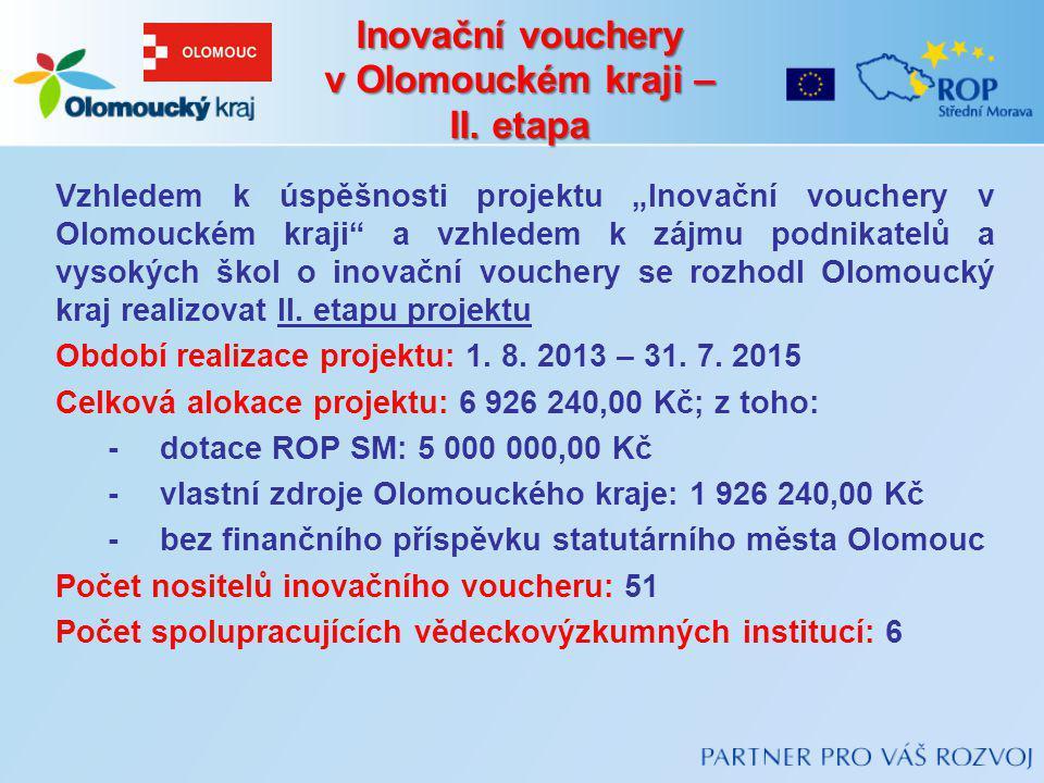 """Vzhledem k úspěšnosti projektu """"Inovační vouchery v Olomouckém kraji"""" a vzhledem k zájmu podnikatelů a vysokých škol o inovační vouchery se rozhodl Ol"""